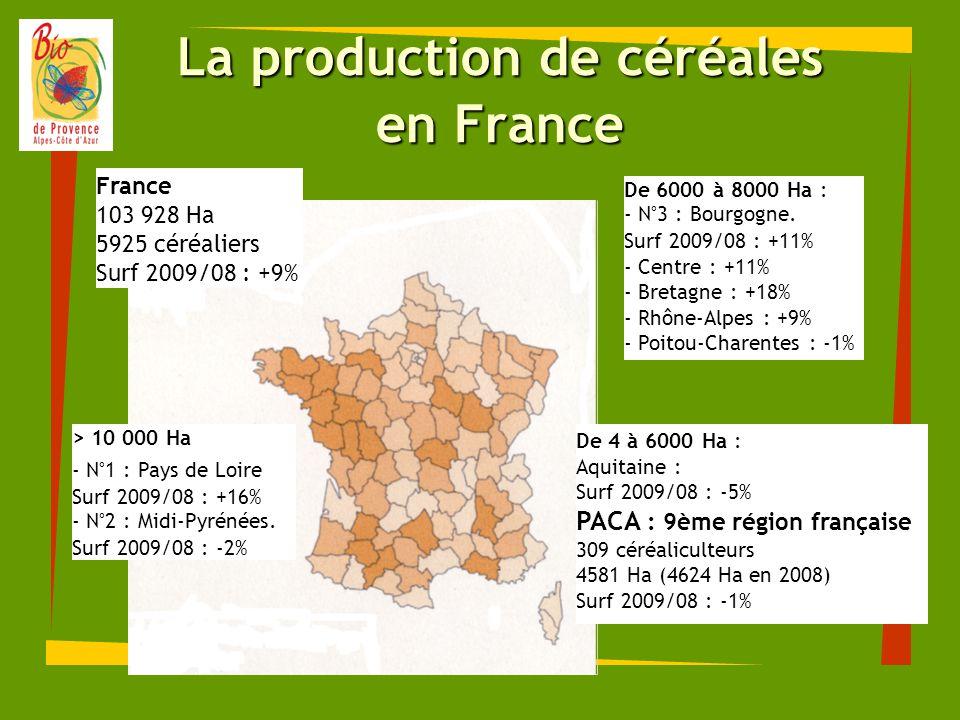 Physionomie des céréales en PACA N°3 : 853 Ha SAU bio : 8,4% N°2 : 74 producteurs Surf 2009/08 : + 19,6% 584 Ha SAU bio : 3,5% 57 producteurs Surf 2009/08 : -22,8% N°2 : 1105 Ha SAU bio : 4,4% N°1 : 100 producteurs Surf 2009/08 : + 20,2% 20 Ha SAU bio : 29,7% 4 producteurs Surf 2009/08 : -18,2% N°1 : 1824 Ha SAU bio : 5,4% N°3 : 61 producteurs Surf 2009/08 : -8,9% 196 Ha SAU bio : 3,4% 13 producteurs Surf 2009/08 : - 6,2%