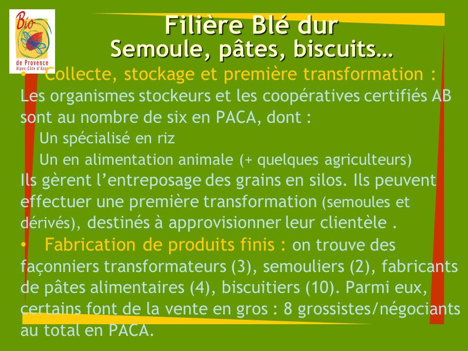 Filière Blé dur Semoule, pâtes, biscuits… Collecte, stockage et première transformation : Les organismes stockeurs et les coopératives certifiés AB so