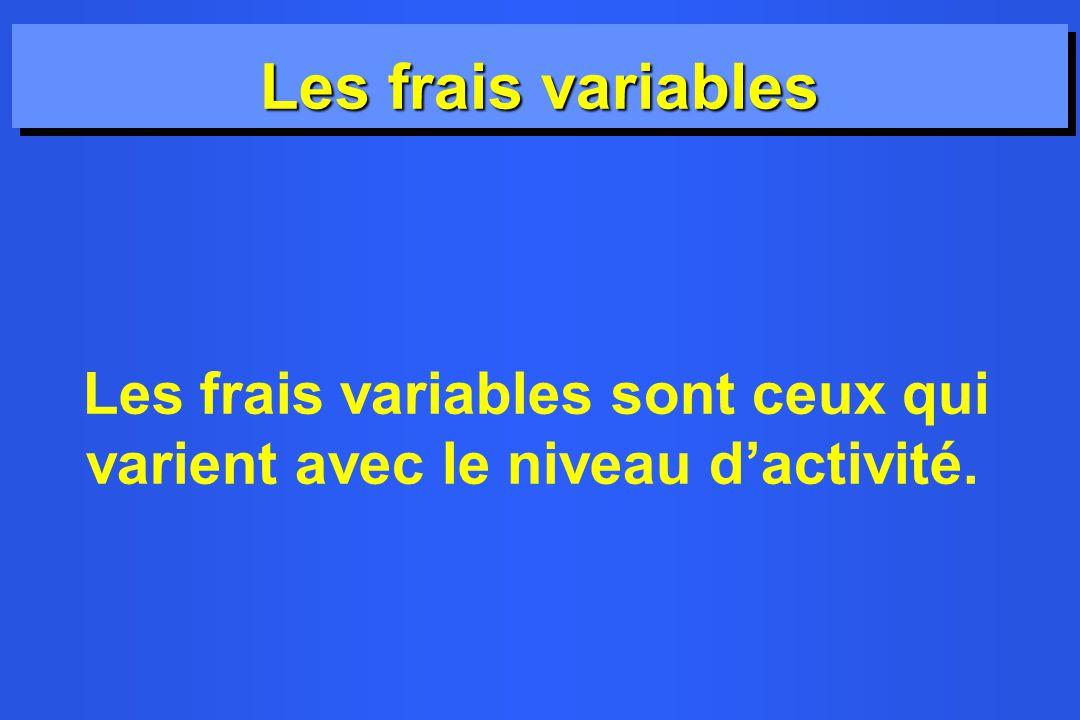 Les frais variables Les frais variables sont ceux qui varient avec le niveau dactivité.