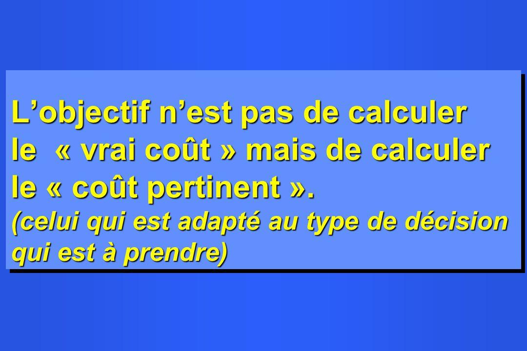 Lobjectif nest pas de calculer le « vrai coût » mais de calculer le « coût pertinent ». (celui qui est adapté au type de décision qui est à prendre)