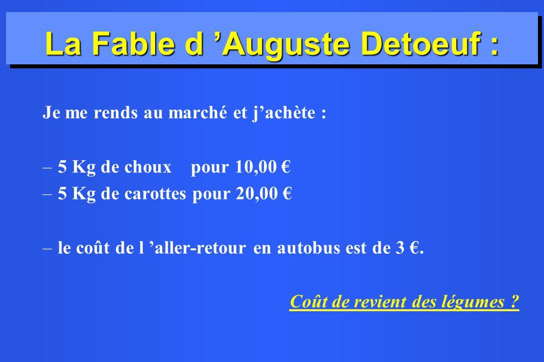 La Fable d Auguste Detoeuf : Je me rends au marché et jachète : –5 Kg de choux pour 10,00 –5 Kg de carottes pour 20,00 –le coût de l aller-retour en a