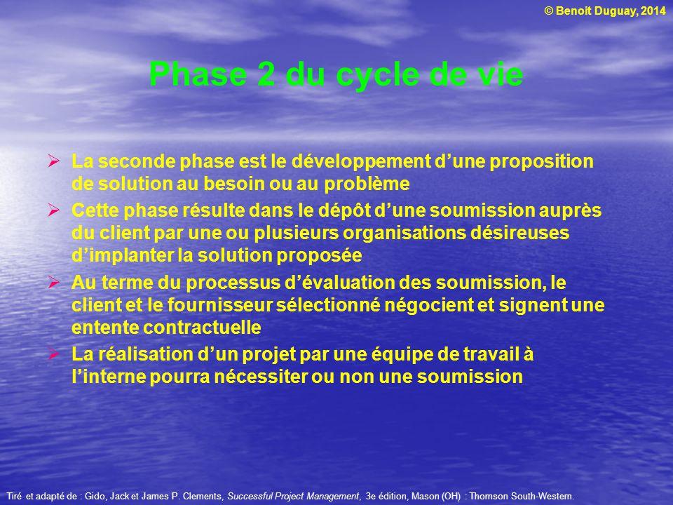 © Benoit Duguay, 2014 La seconde phase est le développement dune proposition de solution au besoin ou au problème Cette phase résulte dans le dépôt du