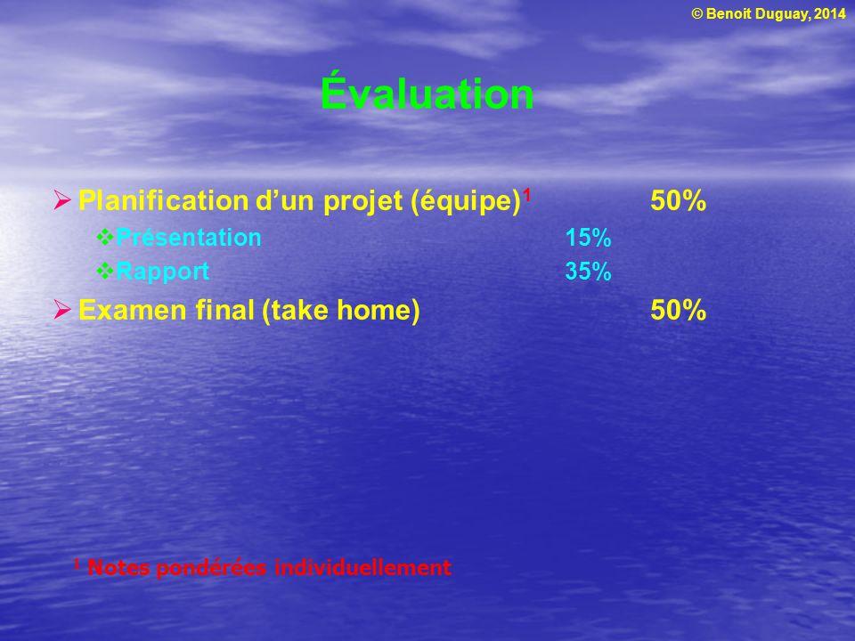 © Benoit Duguay, 2014 Développer un ensemble de critères, quantitatifs et qualitatifs, pour évaluer les différentes opportunités (projets potentiels) Formuler les hypothèses sous-jacentes, les conditions pré requises à la réalisation du projet, p.