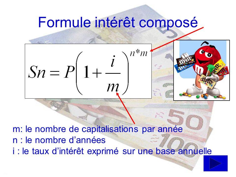 Formules intérêt simple I = P i nS= P + I P = principal i = taux dintérêt simple payé sur le principal n = nombre de périodes I = montant total des intérêts S = la somme soit le principal + les intérêts