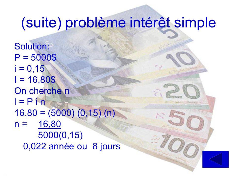 (suite) problème intérêt simple Solution: P = 5000$ i = 0,15 I = 16,80$ On cherche n l = P i n 16,80 = (5000) (0,15) (n) n = 16,80 5000(0,15) 0,022 année ou 8 jours