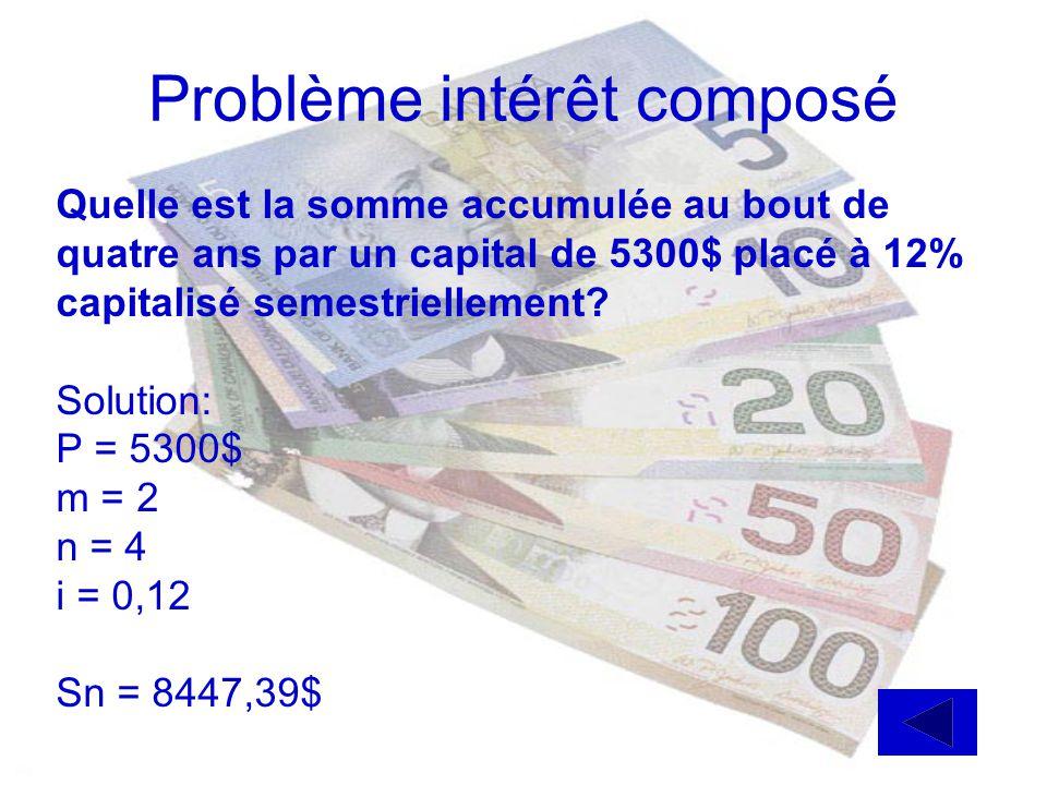 (suite) problème intérêt simple Solution: P = 5000$ i = 0,15 I = 16,80$ On cherche n l = P i n 16,80 = (5000) (0,15) (n) n = 16,80 5000(0,15) 0,022 an