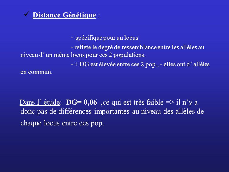 Distance Génétique : - spécifique pour un locus - reflète le degré de ressemblance entre les allèles au niveau d un même locus pour ces 2 populations.