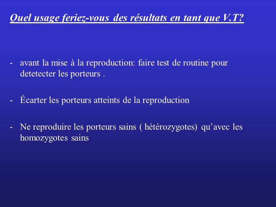 Quel usage feriez-vous des résultats en tant que V.T? -avant la mise à la reproduction: faire test de routine pour detetecter les porteurs. -Écarter l