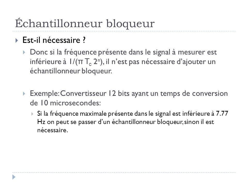 Échantillonneur bloqueur Est-il nécessaire ? Donc si la fréquence présente dans le signal à mesurer est inférieure à 1/( π T c 2 n ), il nest pas néce