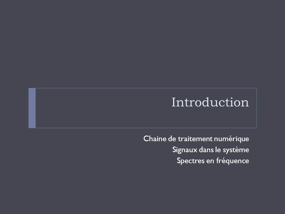 Introduction Chaine de traitement numérique Signaux dans le système Spectres en fréquence