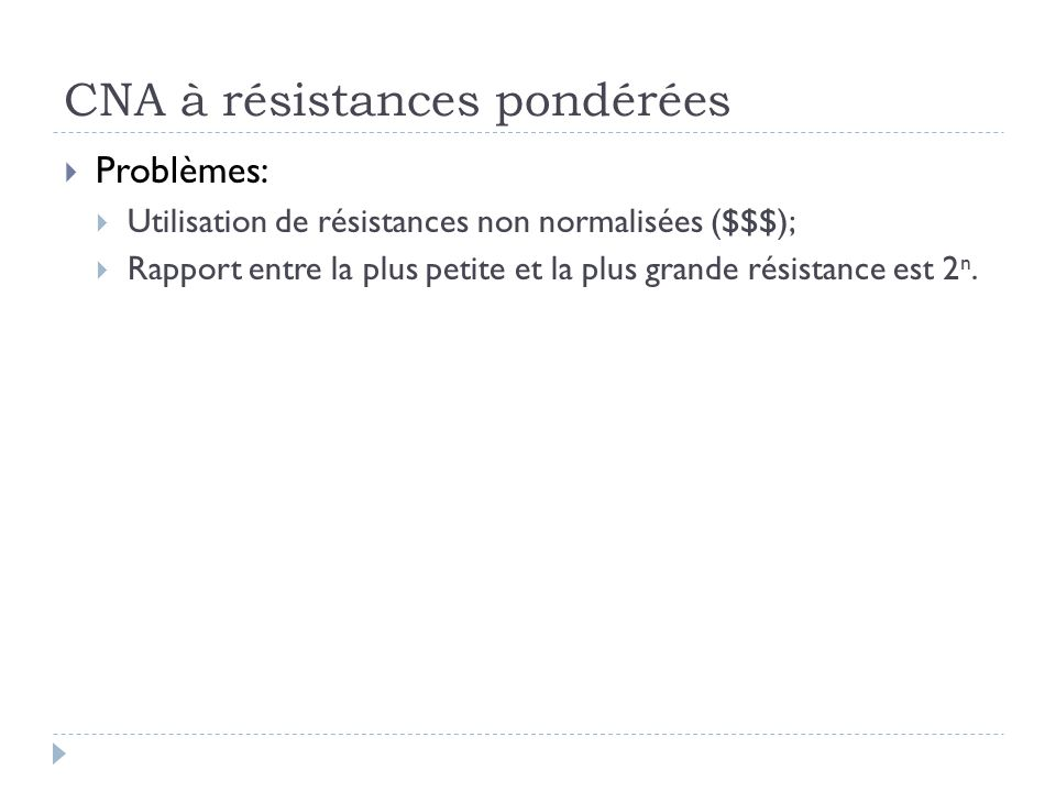 CNA à résistances pondérées Problèmes: Utilisation de résistances non normalisées ($$$); Rapport entre la plus petite et la plus grande résistance est