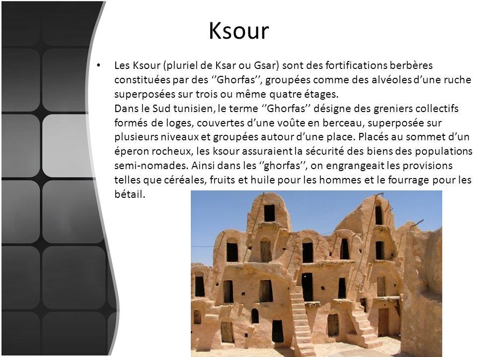 Ksour Les Ksour (pluriel de Ksar ou Gsar) sont des fortifications berbères constituées par des Ghorfas, groupées comme des alvéoles dune ruche superpo