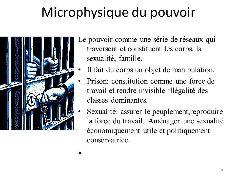 Microphysique du pouvoir Le pouvoir comme une série de réseaux qui traversent et constituent les corps, la sexualité, famille. Il fait du corps un obj
