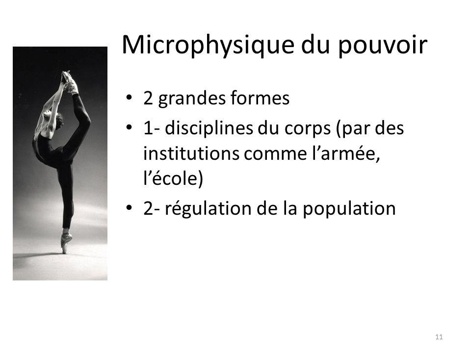 Microphysique du pouvoir 2 grandes formes 1- disciplines du corps (par des institutions comme larmée, lécole) 2- régulation de la population 11