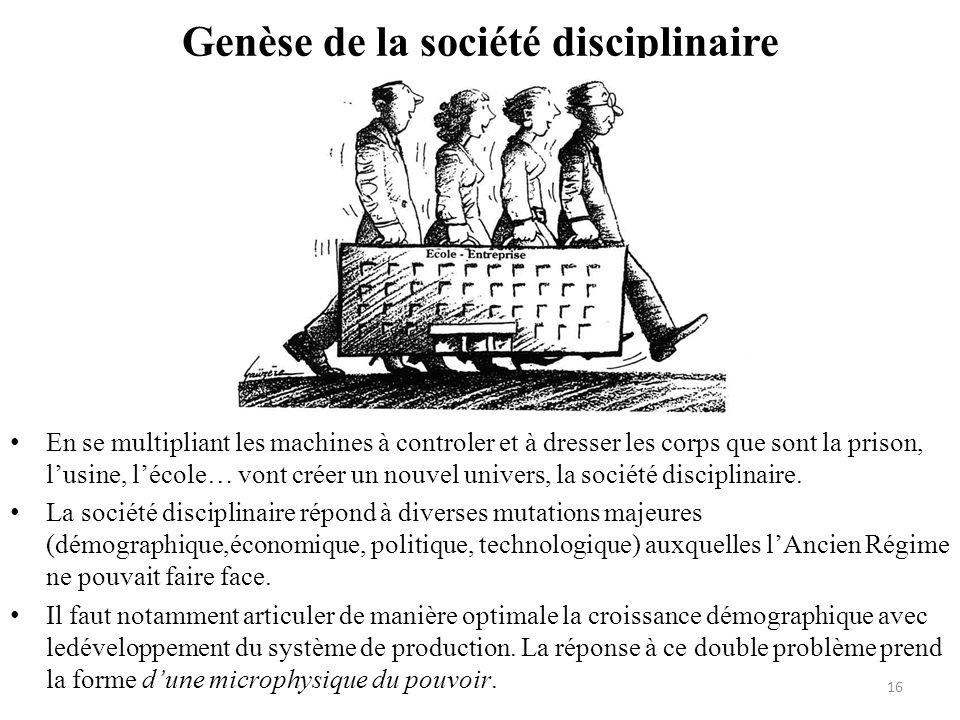 Genèse de la société disciplinaire En se multipliant les machines à controler et à dresser les corps que sont la prison, lusine, lécole… vont créer un