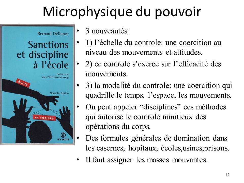 Microphysique du pouvoir 3 nouveautés: 1) léchelle du controle: une coercition au niveau des mouvements et attitudes. 2) ce controle sexerce sur leffi