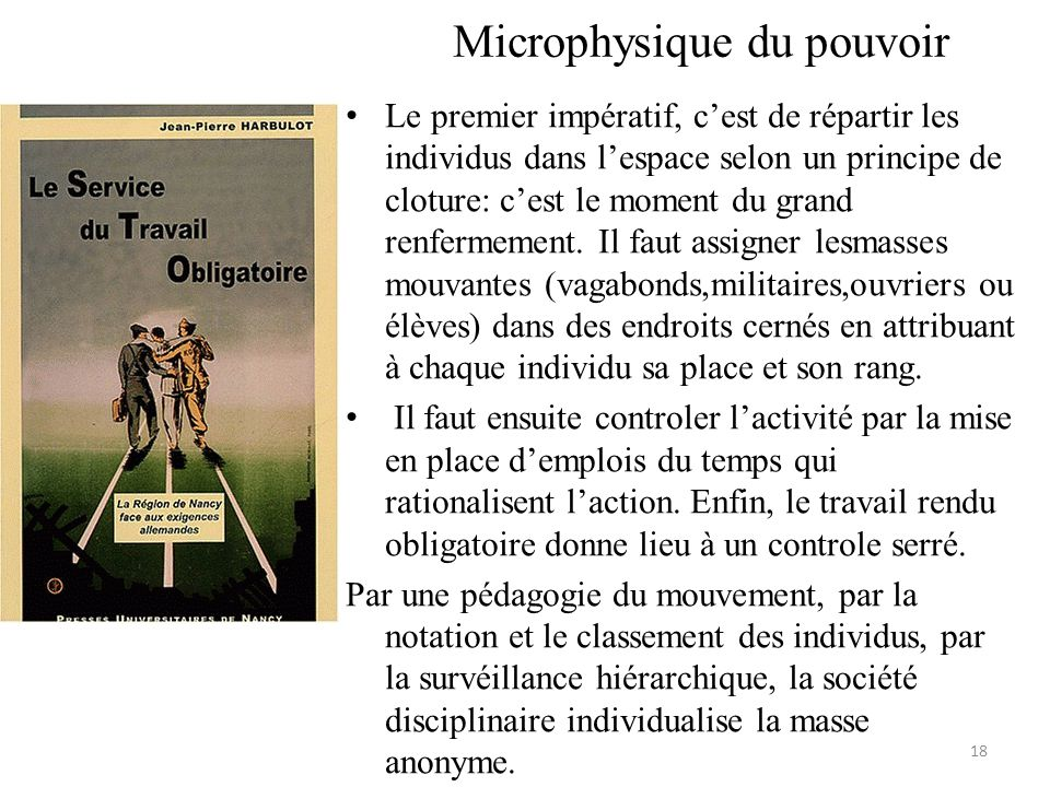 Microphysique du pouvoir Le premier impératif, cest de répartir les individus dans lespace selon un principe de cloture: cest le moment du grand renfe