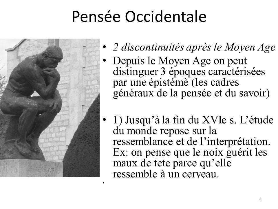 Pensée Occidentale 2 discontinuités après le Moyen Age Depuis le Moyen Age on peut distinguer 3 époques caractérisées par une épistémè (les cadres gén