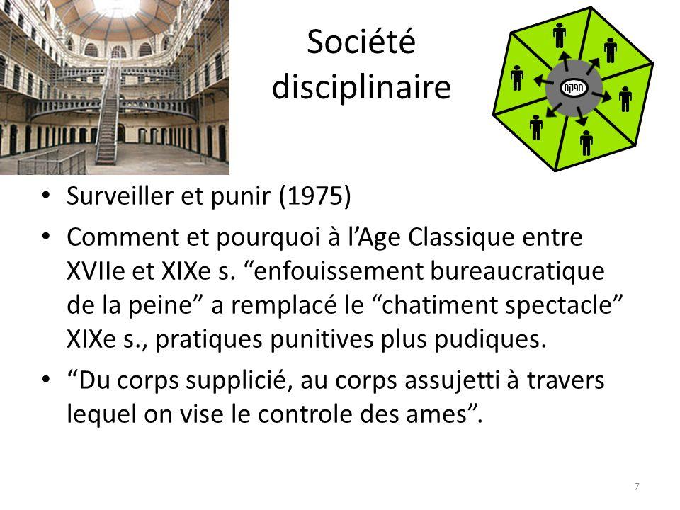 Société disciplinaire Surveiller et punir (1975) Comment et pourquoi à lAge Classique entre XVIIe et XIXe s. enfouissement bureaucratique de la peine
