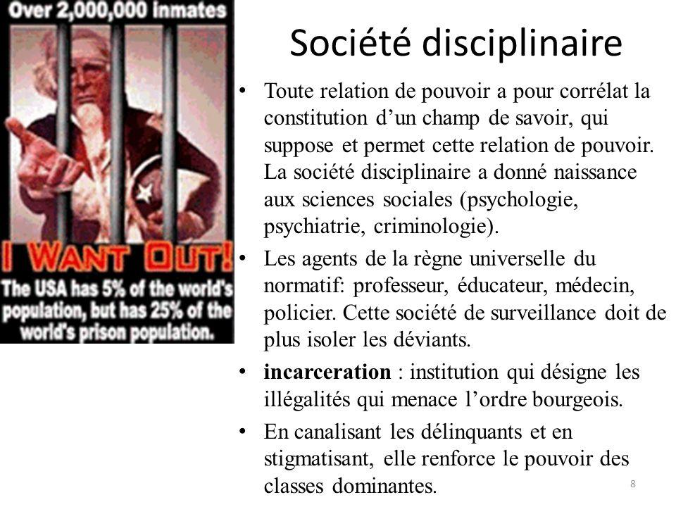Société disciplinaire Toute relation de pouvoir a pour corrélat la constitution dun champ de savoir, qui suppose et permet cette relation de pouvoir.