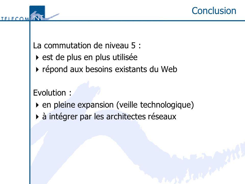 Conclusion La commutation de niveau 5 : est de plus en plus utilisée répond aux besoins existants du Web Evolution : en pleine expansion (veille technologique) à intégrer par les architectes réseaux