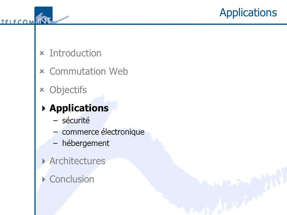 Applications Introduction Commutation Web Objectifs Applications –sécurité –commerce électronique –hébergement Architectures Conclusion
