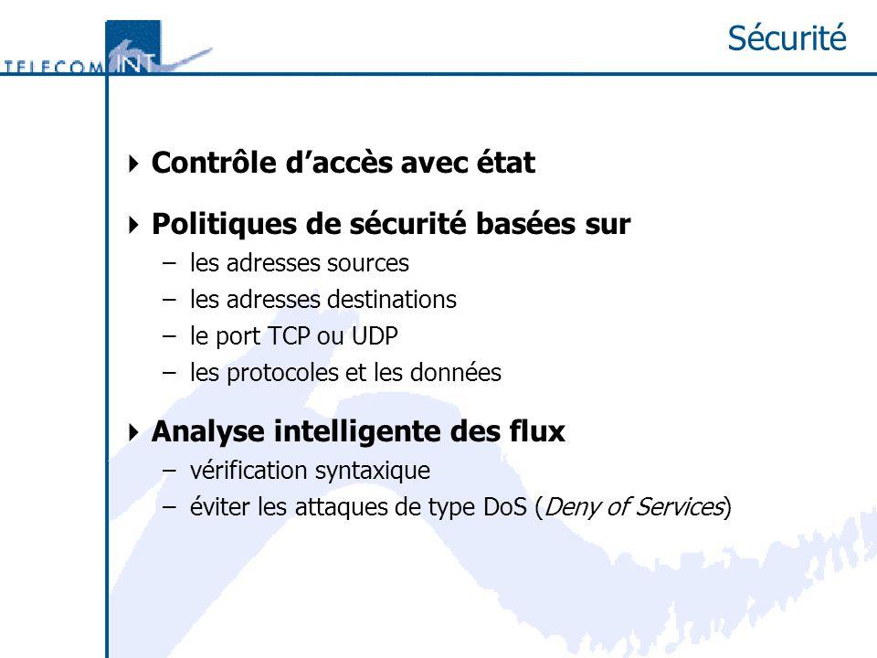 Sécurité Contrôle daccès avec état Politiques de sécurité basées sur –les adresses sources –les adresses destinations –le port TCP ou UDP –les protocoles et les données Analyse intelligente des flux –vérification syntaxique –éviter les attaques de type DoS (Deny of Services)