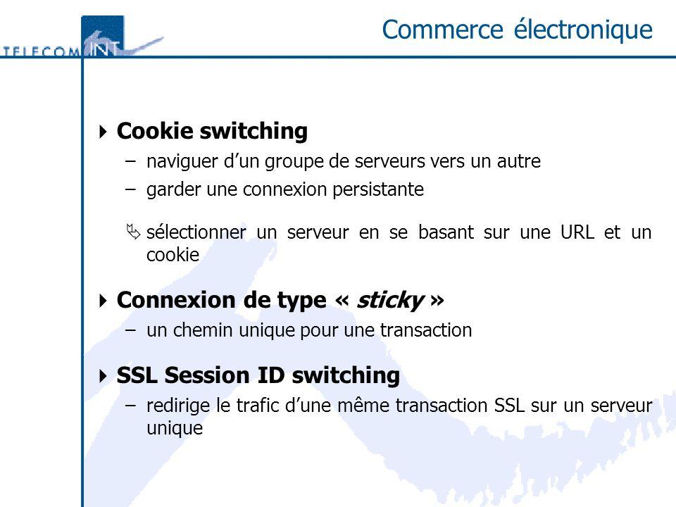 Commerce électronique Cookie switching –naviguer dun groupe de serveurs vers un autre –garder une connexion persistante sélectionner un serveur en se
