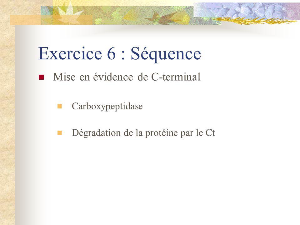 Exercice 6 : Séquence Mise en évidence de C-terminal Carboxypeptidase Dégradation de la protéine par le Ct