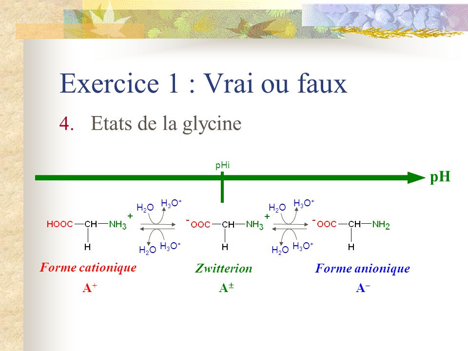 pH pHi Zwitterion Forme cationique Forme anionique A+A+ A A–A– A+A+ A A–A– % forme 0 50 100 H3O+H3O+ H2OH2O H3O+H3O+ H2OH2O H3O+H3O+ H2OH2O H3O+H3O+ H2OH2O [A + ] = [A ] [A ] = [A – ]