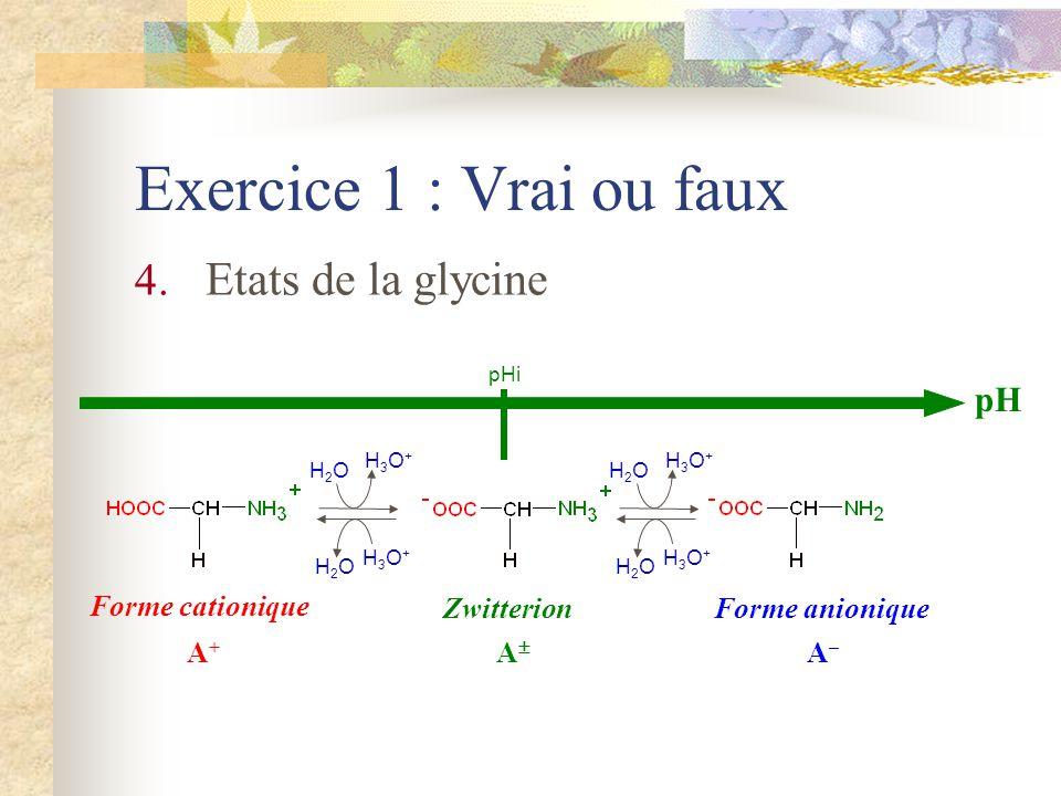 Exercice 1 : Vrai ou faux 4. Etats de la glycine pH pHi Forme cationique A+A+ Zwitterion A Forme anionique A–A– H3O+H3O+ H2OH2O H3O+H3O+ H2OH2O H3O+H3