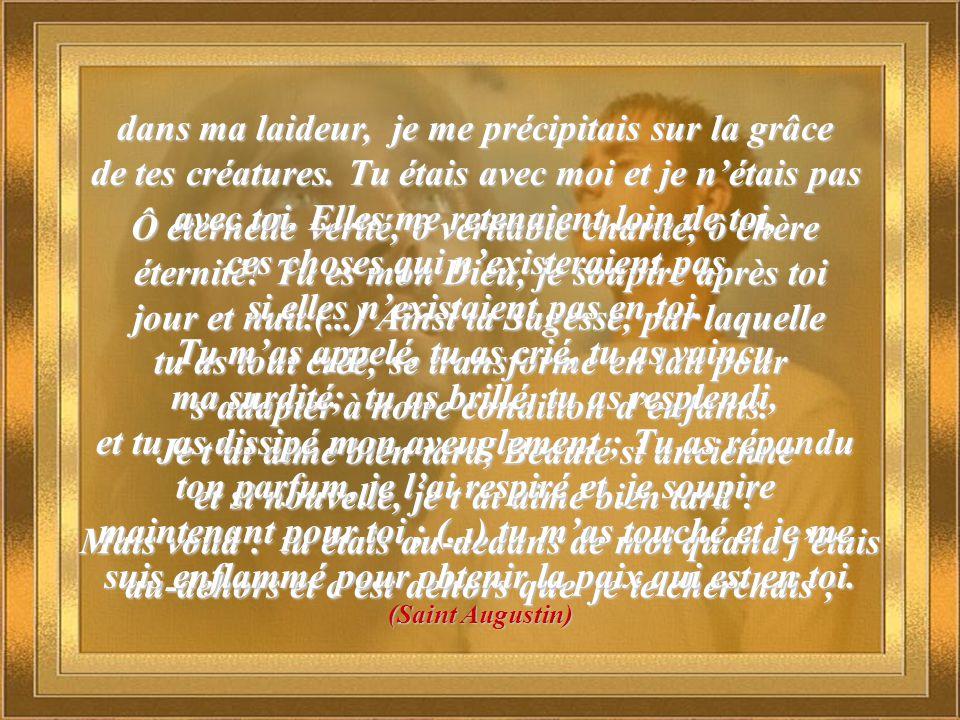 Ô éternelle vérité, ô véritable charité, ô chère éternité! Tu es mon Dieu, je soupire après toi jour et nuit.(...) Ainsi ta Sagesse, par laquelle jour