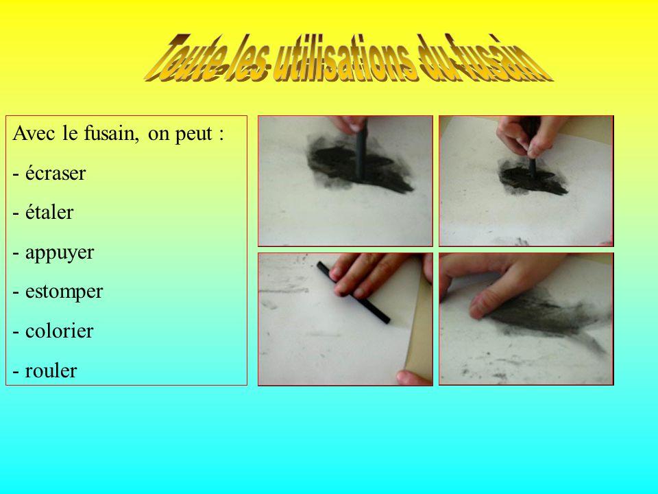 Cest un crayon fait avec le charbon de fusain. Le fusain est un arbrisseau dicotylédone à fleurs dialypétales. Pour dessiner on a utilisé le fusain.