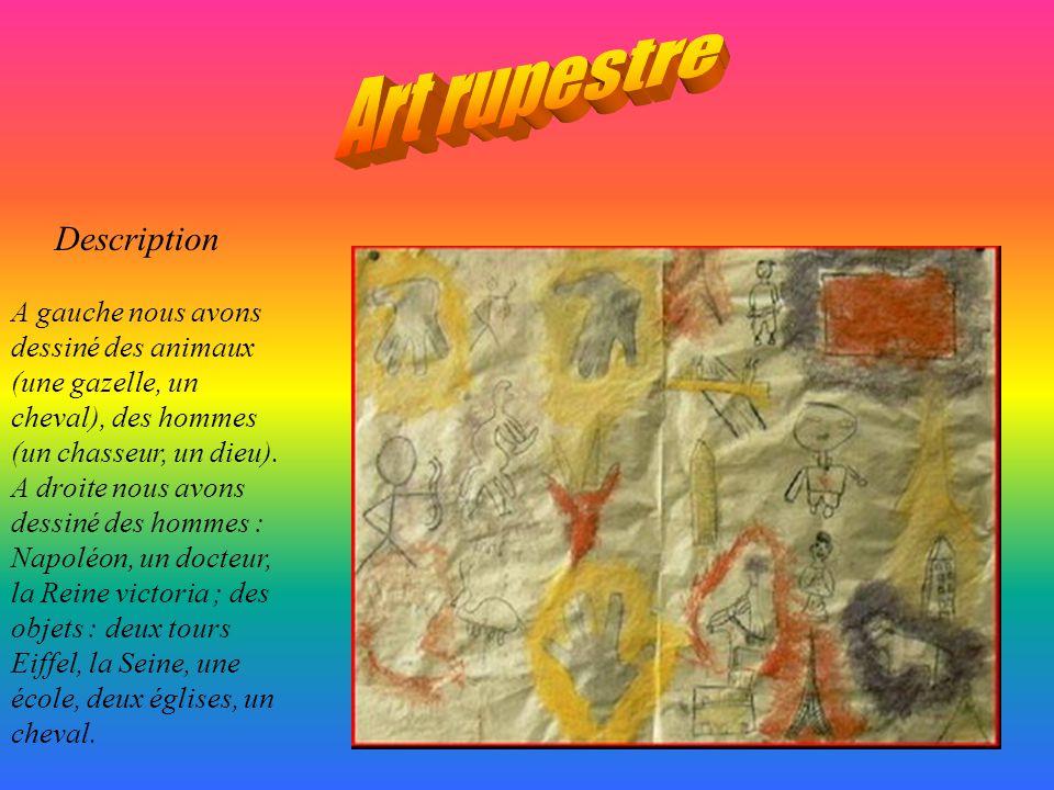 A gauche nous avons représenté la préhistoire : Cest à dire des buissons, des arbres, des Mammouths, des bisons, des fourmis carnivores et une chèvre.