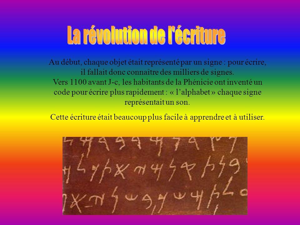 Vers 3 300 avant J-C, en Mésopotamie et en Égypte, des hommes ont inventé un système de signe pour garder en mémoire des renseignement importants, com