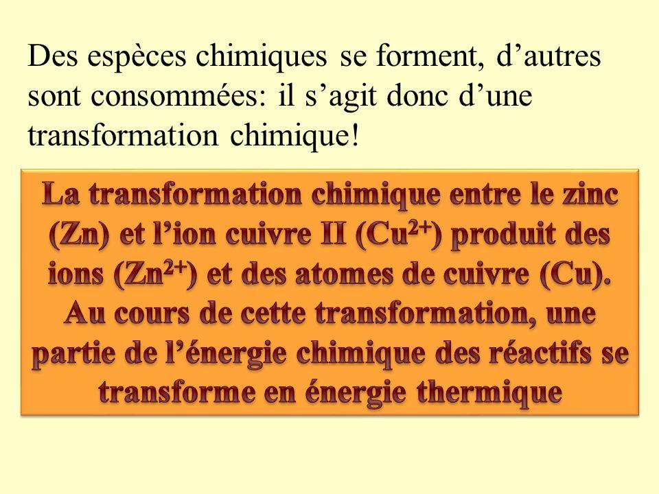 Résumons nos observations: avant la réaction : Présence dions cuivre II (Cu 2+ ) et datomes de Zinc (Zn) Au cours de la réaction : Disparition des ions cuivre II et des atomes de zinc.