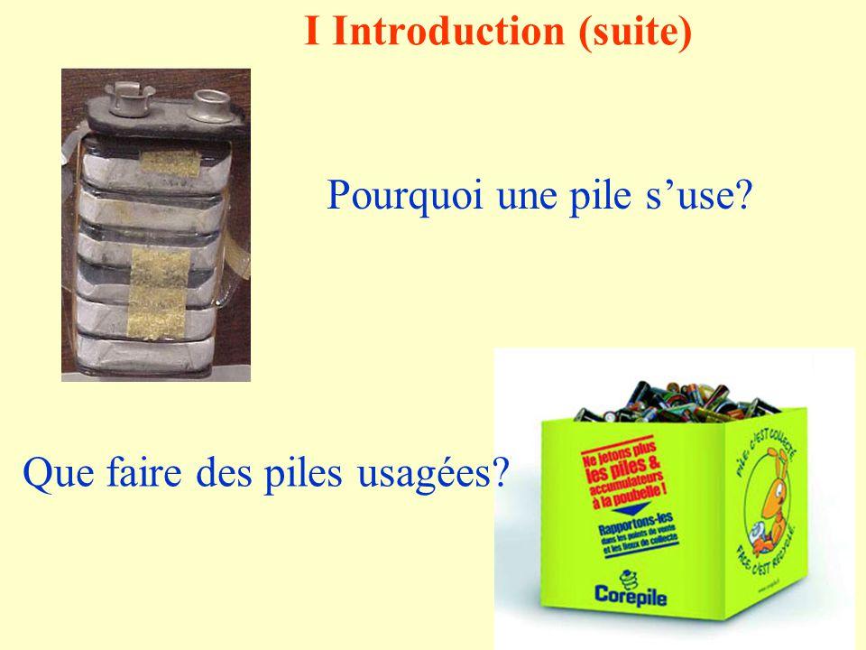 I Introduction Doù vient lénergie produite dans les piles ou les accumulateurs? Quest-ce quune pile à combustible ?