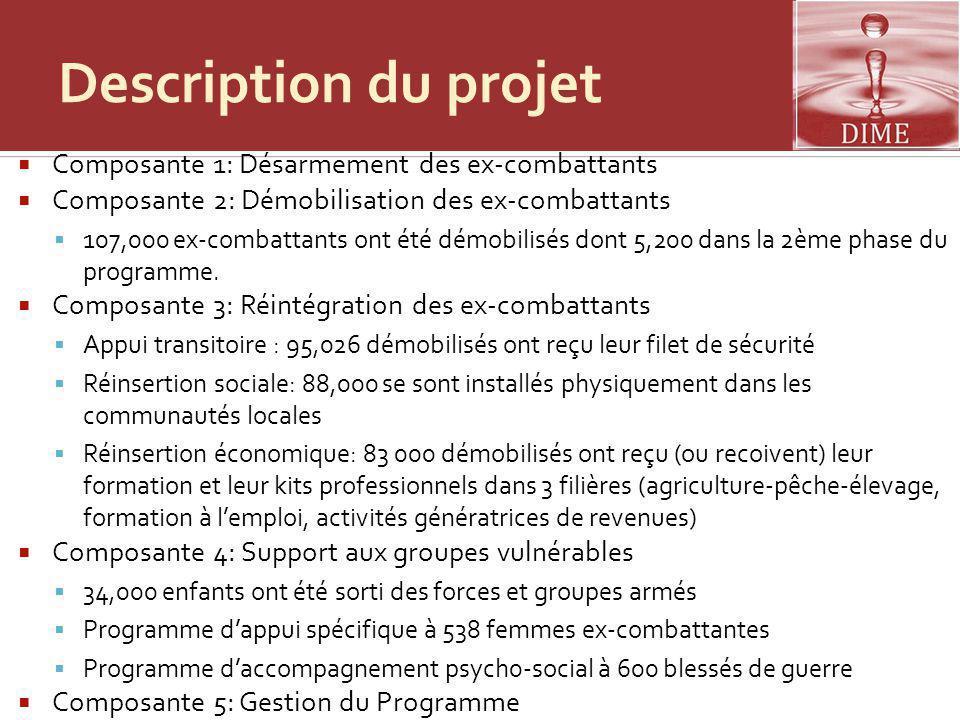 Description du projet Composante 1: Désarmement des ex-combattants Composante 2: Démobilisation des ex-combattants 107,000 ex-combattants ont été démo