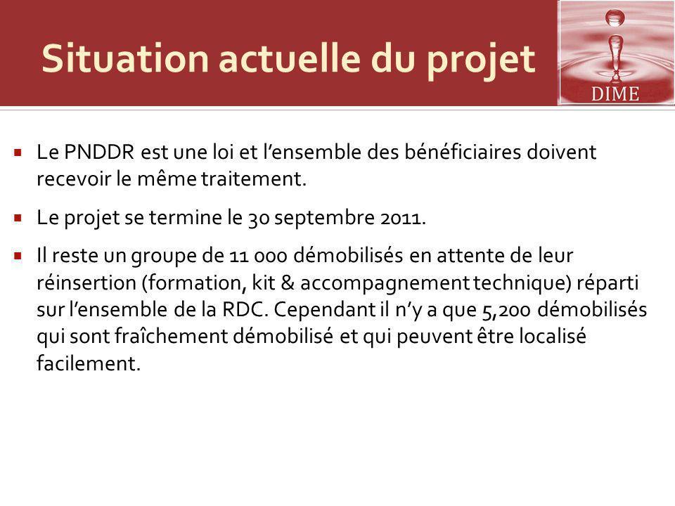 Situation actuelle du projet Le PNDDR est une loi et lensemble des bénéficiaires doivent recevoir le même traitement. Le projet se termine le 30 septe