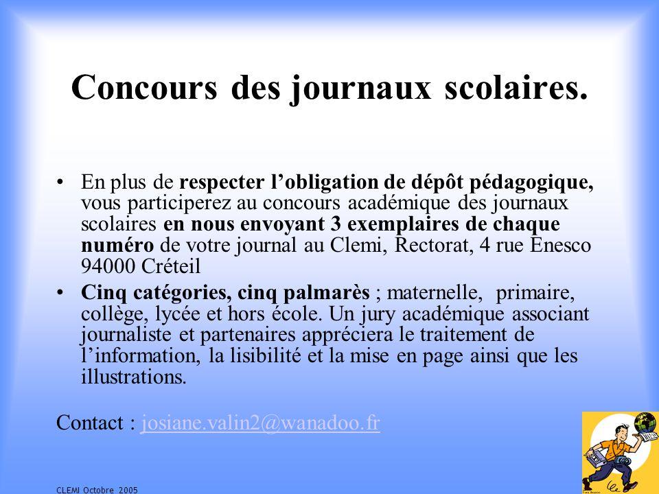 CLEMI Octobre 2005 Concours des journaux scolaires.
