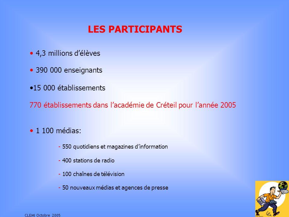 CLEMI Octobre 2005 LES PARTICIPANTS 390 000 enseignants 15 000 établissements 770 établissements dans lacadémie de Créteil pour lannée 2005 4,3 millions délèves 1 100 médias: - 550 quotidiens et magazines dinformation - 400 stations de radio - 100 chaînes de télévision - 50 nouveaux médias et agences de presse
