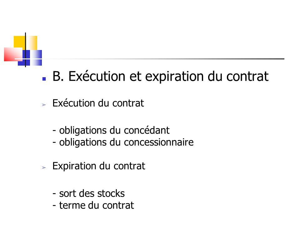 B. Exécution et expiration du contrat Exécution du contrat - obligations du concédant - obligations du concessionnaire Expiration du contrat - sort de