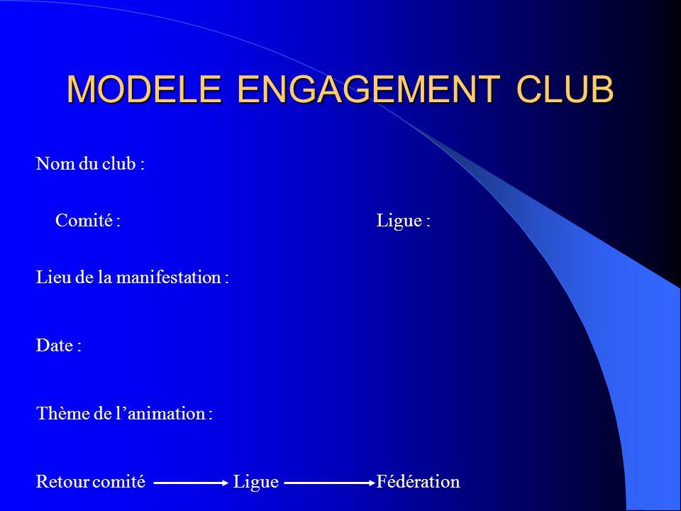 MODELE ENGAGEMENT CLUB Nom du club : Comité : Ligue : Lieu de la manifestation : Date : Thème de lanimation : Retour comité Ligue Fédération