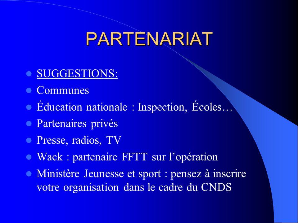 PARTENARIAT SUGGESTIONS: Communes Éducation nationale : Inspection, Écoles… Partenaires privés Presse, radios, TV Wack : partenaire FFTT sur lopératio