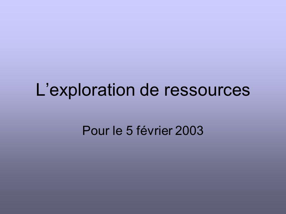 Lexploration de ressources Pour le 5 février 2003