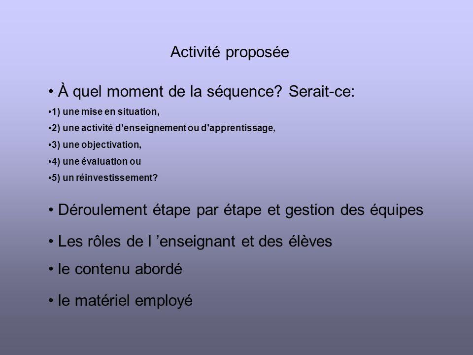 Activité proposée À quel moment de la séquence.