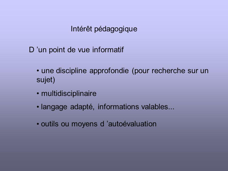 Intérêt pédagogique D un point de vue informatif une discipline approfondie (pour recherche sur un sujet) multidisciplinaire langage adapté, informations valables...