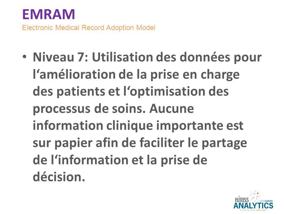 Niveau 7: Utilisation des données pour lamélioration de la prise en charge des patients et loptimisation des processus de soins. Aucune information cl