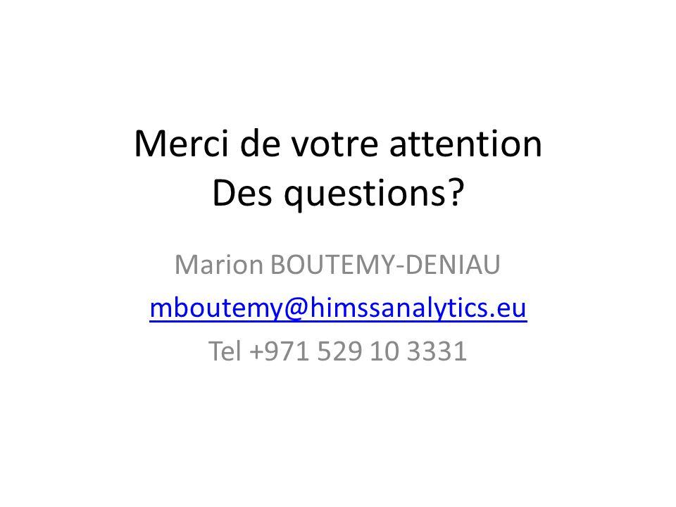 Merci de votre attention Des questions? Marion BOUTEMY-DENIAU mboutemy@himssanalytics.eu Tel +971 529 10 3331