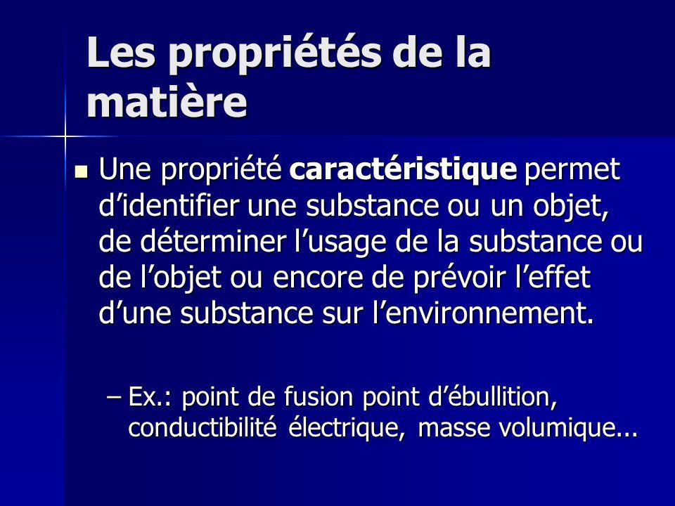 Les propriétés de la matière Une propriété caractéristique permet didentifier une substance ou un objet, de déterminer lusage de la substance ou de lo